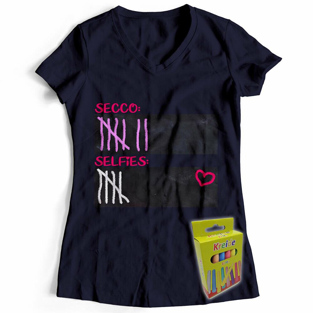 T-Shirt Strichliste Secco & Selfies inkl. 12er-Pack Kreide (Damen, V-Neck, Navy)