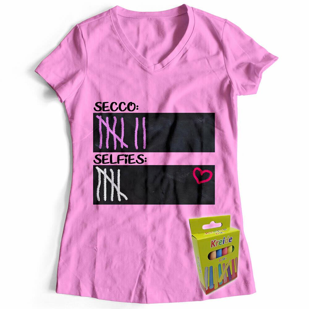T-Shirt Strichliste Secco & Selfies inkl. 12er-Pack Kreide (Damen, V-Neck, Rosa)
