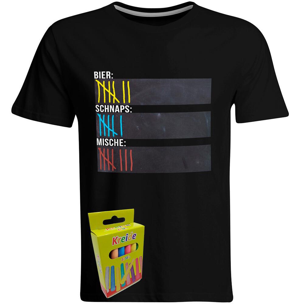 T-Shirt Strichliste Bier, Schnaps & Mische mit Kreide beschreibbar inkl. 12er-Pack Kreide (Herren, Rundhals, Schwarz)