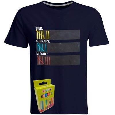 T-Shirt Strichliste Bier, Schnaps & Mische mit Kreide beschreibbar inkl. 12er-Pack Kreide (Herren, Rundhals, Navy)