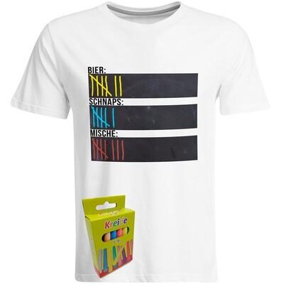 T-Shirt Strichliste Bier, Schnaps & Mische mit Kreide beschreibbar inkl. 12er-Pack Kreide (Herren, Rundhals, Weiß)