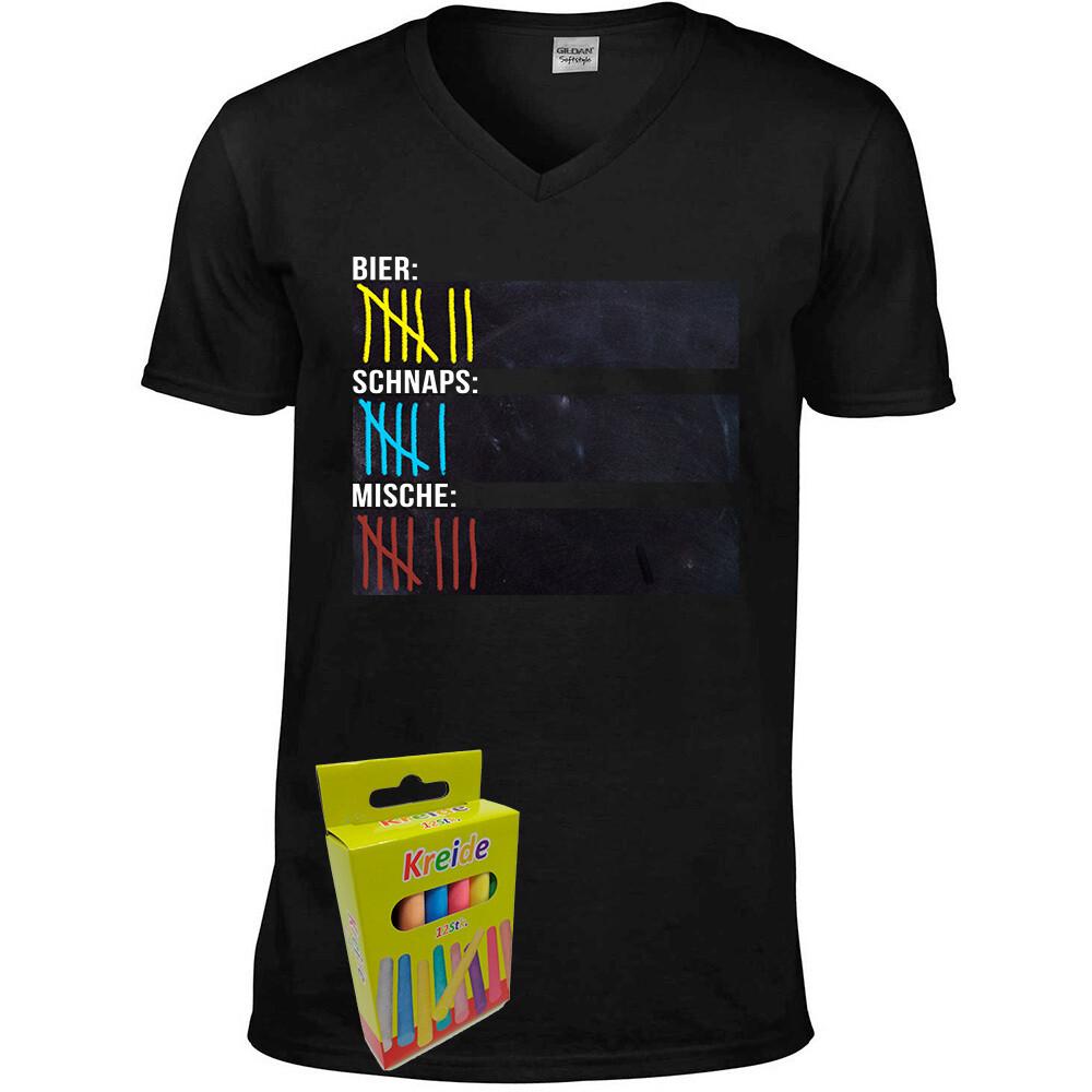 T-Shirt Strichliste Bier, Schnaps & Mische mit Kreide beschreibbar inkl. 12er-Pack Kreide (Herren, V-Neck, Schwarz)