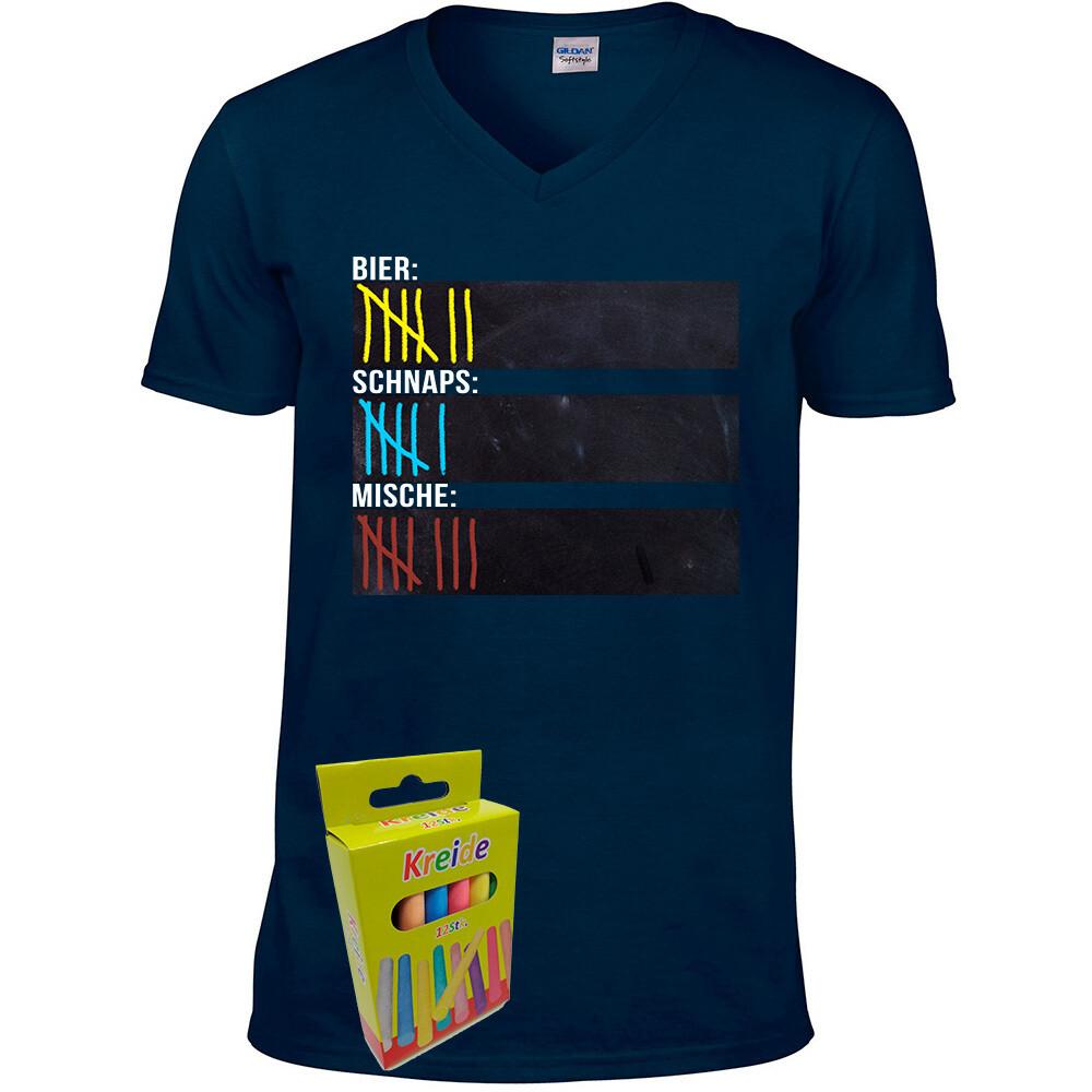 T-Shirt Strichliste Bier, Schnaps & Mische mit Kreide beschreibbar inkl. 12er-Pack Kreide (Herren, V-Neck, Navy)