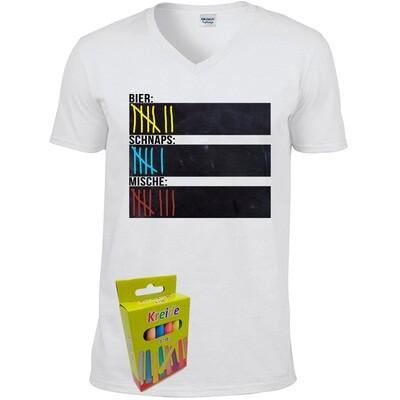 T-Shirt Strichliste Bier, Schnaps & Mische mit Kreide beschreibbar inkl. 12er-Pack Kreide (Herren, V-Neck, Weiß)