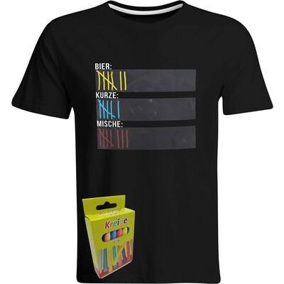 T-Shirt Strichliste Bier, Kurze & Mische mit Kreide beschreibbar inkl. 12er-Pack Kreide (Herren, Rundhals, Schwarz)