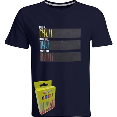 T-Shirt Strichliste Bier, Kurze & Mische mit Kreide beschreibbar inkl. 12er-Pack Kreide (Herren, Rundhals, Navy)