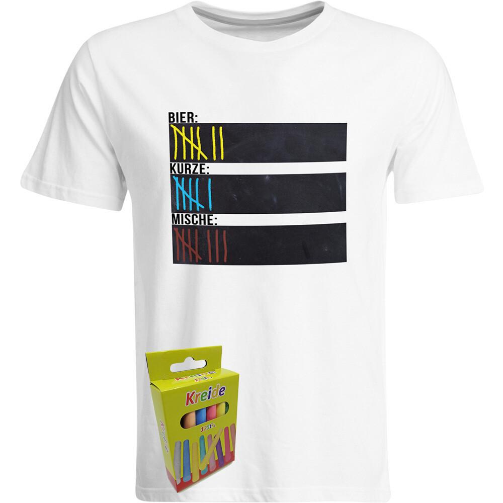 T-Shirt Strichliste Bier, Kurze & Mische mit Kreide beschreibbar inkl. 12er-Pack Kreide (Herren, Rundhals, Weiß)