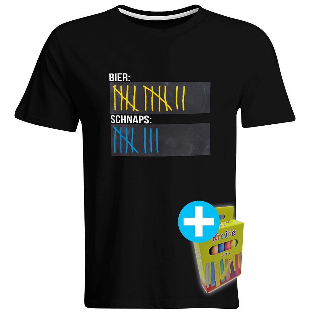 T-Shirt Strichliste Bier & Schnaps mit Kreide beschreibbar inkl. 12er-Pack Kreide (Herren, Rundhals, verschiedene Farben)