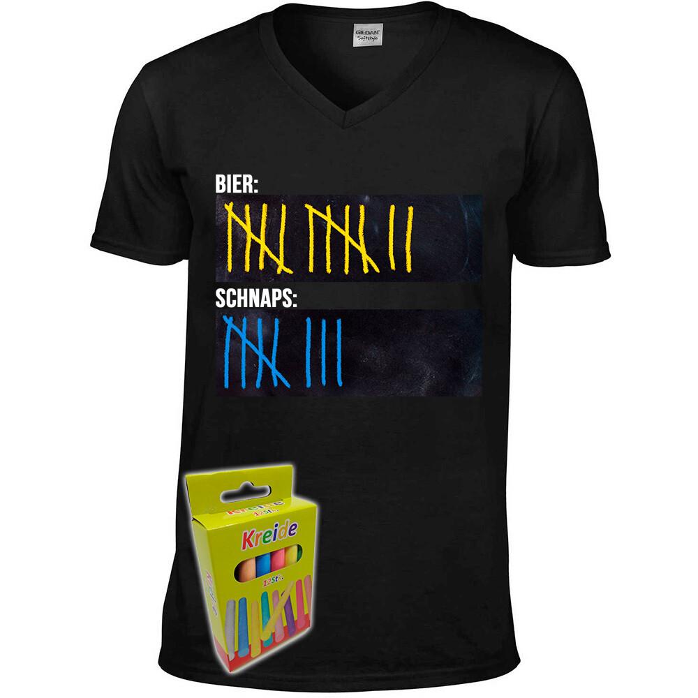 T-Shirt Strichliste Bier & Schnaps mit Kreide beschreibbar inkl. 12er-Pack Kreide (Herren, V-Neck, Schwarz)