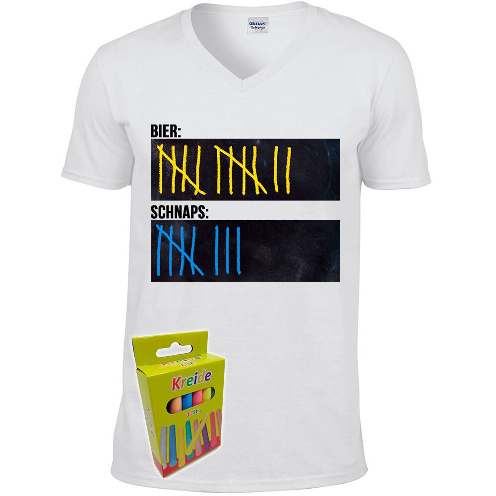 T-Shirt Strichliste Bier & Schnaps mit Kreide beschreibbar inkl. 12er-Pack Kreide (Herren, V-Neck, Weiß)