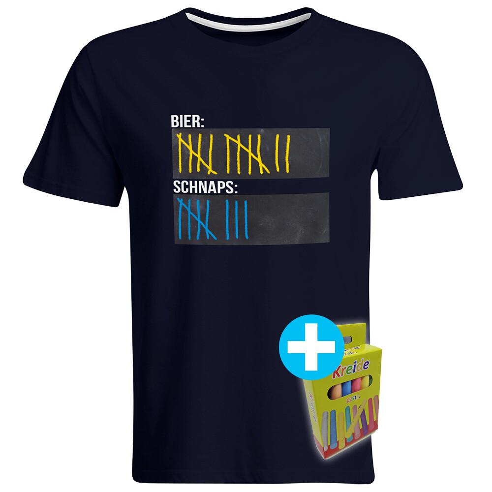 T-Shirt Strichliste Bier & Schnaps mit Kreide beschreibbar inkl. 12er-Pack Kreide (Herren, Rundhals, Navy)