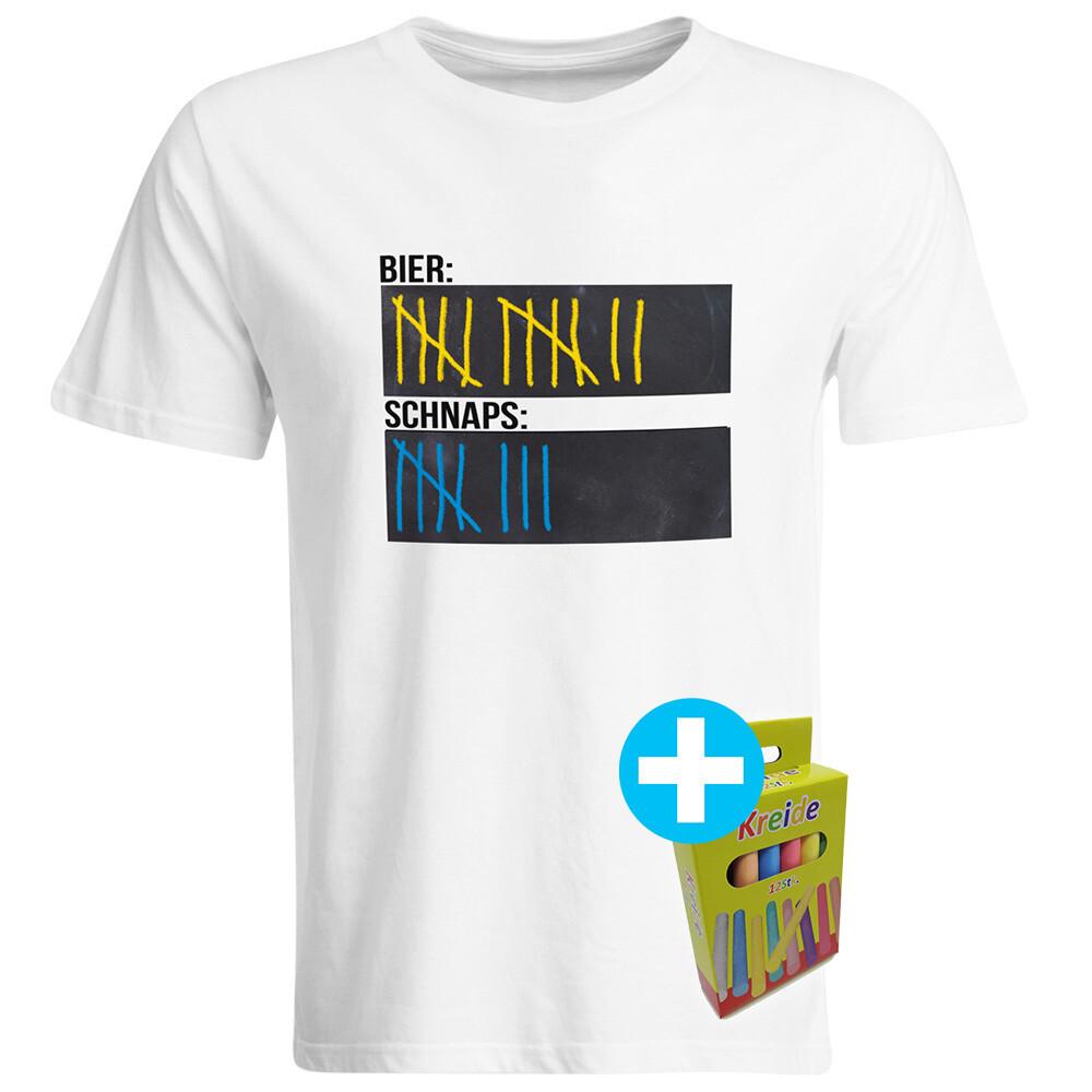 T-Shirt Strichliste Bier & Schnaps mit Kreide beschreibbar inkl. 12er-Pack Kreide (Herren, Rundhals, Weiß)