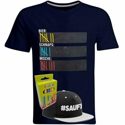 T-Shirt Strichliste Bier, Schnaps & Mische mit Kreide beschreibbar inkl. Saufi Snapback (Grau) und 12er-Pack Kreide (Herren, Rundhals, Navy)