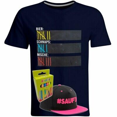 T-Shirt Strichliste Bier, Schnaps & Mische mit Kreide beschreibbar inkl. Saufi Snapback (Pink) und 12er-Pack Kreide (Herren, Rundhals, Navy)
