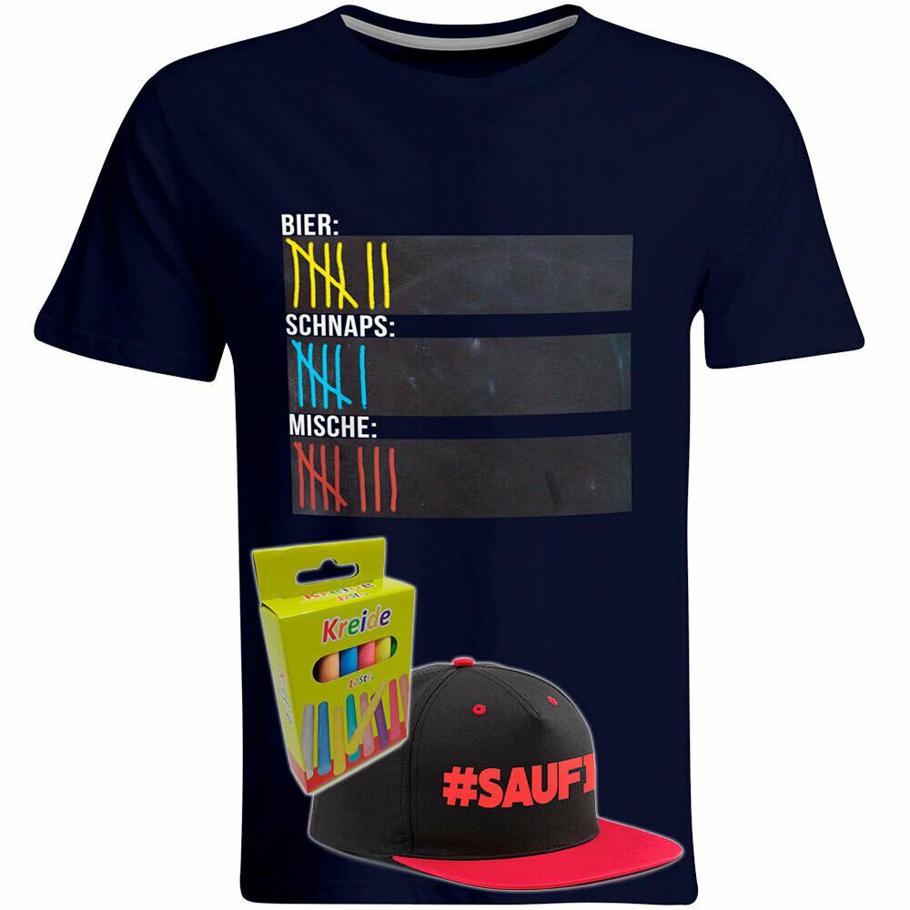 T-Shirt Strichliste Bier, Schnaps & Mische mit Kreide beschreibbar inkl. Saufi Snapback (Rot) und 12er-Pack Kreide (Herren, Rundhals, Navy)