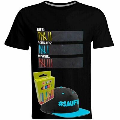 T-Shirt Strichliste Bier, Schnaps & Mische mit Kreide beschreibbar inkl. Saufi Snapback (Blau) und 12er-Pack Kreide (Herren, Rundhals, Schwarz)