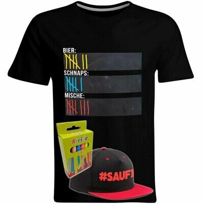 T-Shirt Strichliste Bier, Schnaps & Mische mit Kreide beschreibbar inkl. Saufi Snapback (Rot) und 12er-Pack Kreide (Herren, Rundhals, Schwarz)