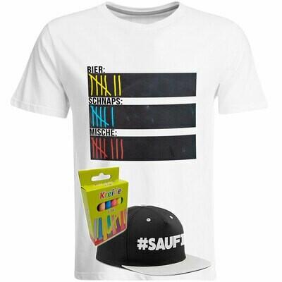 T-Shirt Strichliste Bier, Schnaps & Mische mit Kreide beschreibbar inkl. Saufi Snapback (Grau) und 12er-Pack Kreide (Herren, Rundhals, Weiß)