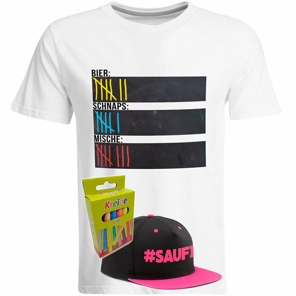 T-Shirt Strichliste Bier, Schnaps & Mische mit Kreide beschreibbar inkl. Saufi Snapback (Pink) und 12er-Pack Kreide (Herren, Rundhals, Weiß)