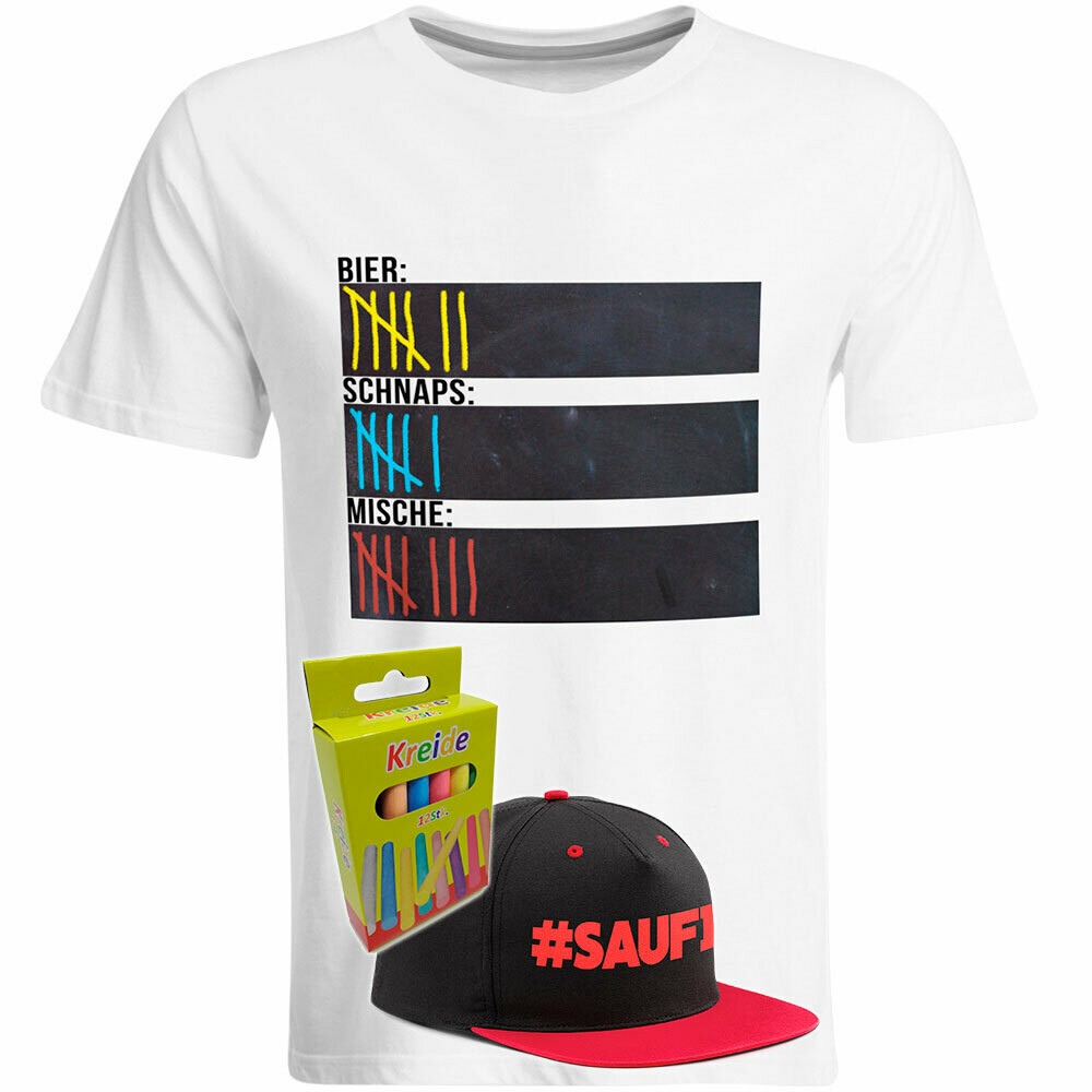 T-Shirt Strichliste Bier, Schnaps & Mische mit Kreide beschreibbar inkl. Saufi Snapback (Rot) und 12er-Pack Kreide (Herren, Rundhals, Weiß)
