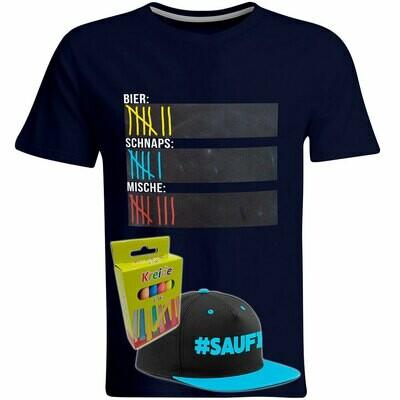 T-Shirt Strichliste Bier, Schnaps & Mische mit Kreide beschreibbar inkl. Saufi Snapback (Blau) und 12er-Pack Kreide (Herren, Rundhals, Navy)