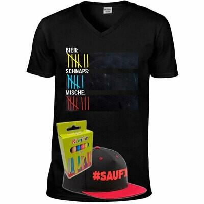 T-Shirt Strichliste Bier, Schnaps & Mische mit Kreide beschreibbar inkl. Saufi Snapback (Rot) und 12er-Pack Kreide (Herren, V-Neck, Schwarz)
