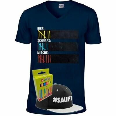 T-Shirt Strichliste Bier, Schnaps & Mische mit Kreide beschreibbar inkl. Saufi Snapback (Grau) und 12er-Pack Kreide (Herren, V-Neck, Navy)