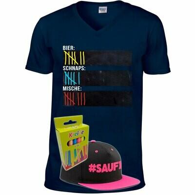 T-Shirt Strichliste Bier, Schnaps & Mische mit Kreide beschreibbar inkl. Saufi Snapback (Pink) und 12er-Pack Kreide (Herren, V-Neck, Navy)