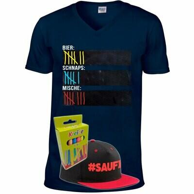 T-Shirt Strichliste Bier, Schnaps & Mische mit Kreide beschreibbar inkl. Saufi Snapback (Rot) und 12er-Pack Kreide (Herren, V-Neck, Navy)