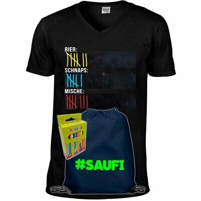 T-Shirt Strichliste Bier, Schnaps & Mische mit Kreide beschreibbar inkl. Saufi Festival Bag (Navy) und 12er-Pack Kreide (Herren, V-Neck, Schwarz)