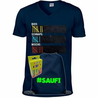 T-Shirt Strichliste Bier, Schnaps & Mische mit Kreide beschreibbar inkl. Saufi Festival Bag (Navy) und 12er-Pack Kreide (Herren, V-Neck, Navy)
