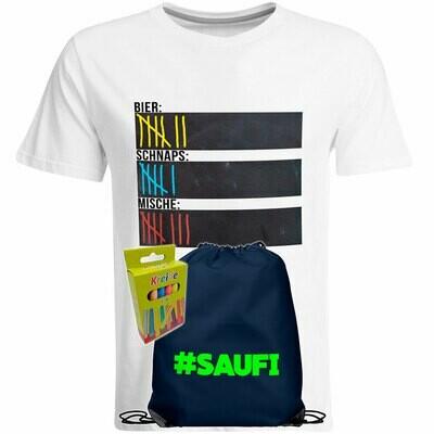 T-Shirt Strichliste Bier, Schnaps & Mische mit Kreide beschreibbar inkl. Saufi Festival Bag (Navy) und 12er-Pack Kreide (Herren, Rundhals, Weiß)