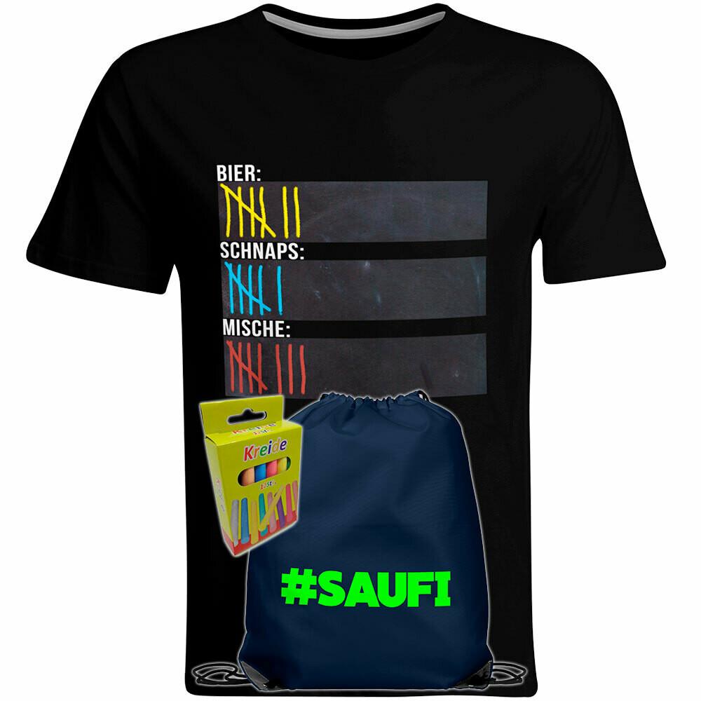 T-Shirt Strichliste Bier, Schnaps & Mische mit Kreide beschreibbar inkl. Saufi Festival Bag (Navy) und 12er-Pack Kreide (Herren, Rundhals, Schwarz)
