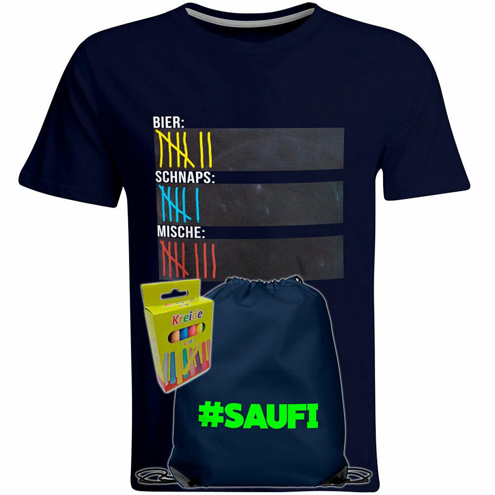 T-Shirt Strichliste Bier, Schnaps & Mische mit Kreide beschreibbar inkl. Saufi Festival Bag (Navy) und 12er-Pack Kreide (Herren, Rundhals, Navy)