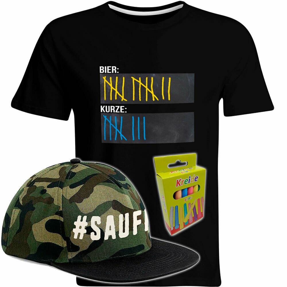 T-Shirt Strichliste Bier Kurze inkl. 12er-Pack Kreide und #SAUFI Snapback Military Edition (Herren, Rundhals)