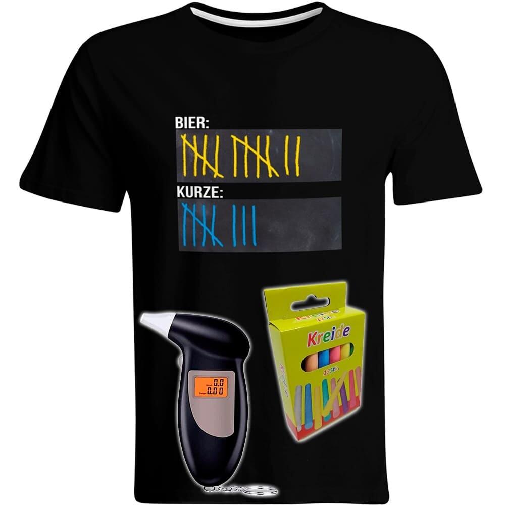 T-Shirt Strichliste Bier & Kurze mit Kreide beschreibbar inkl. Alkoholtester und 12er-Pack Kreide (Herren, Rundhals, Farbe Schwarz)
