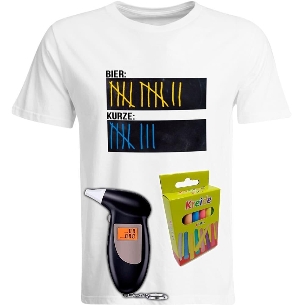 T-Shirt Strichliste Bier & Kurze mit Kreide beschreibbar inkl. Alkoholtester und 12er-Pack Kreide (Herren, Rundhals, Farbe Weiß)