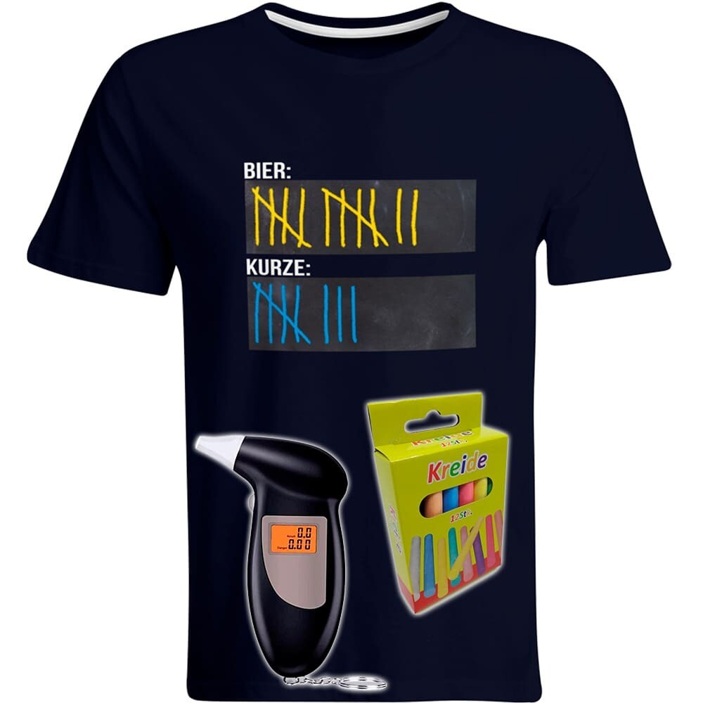 T-Shirt Strichliste Bier & Kurze mit Kreide beschreibbar inkl. Alkoholtester und 12er-Pack Kreide (Herren, Rundhals, Farbe Navy)