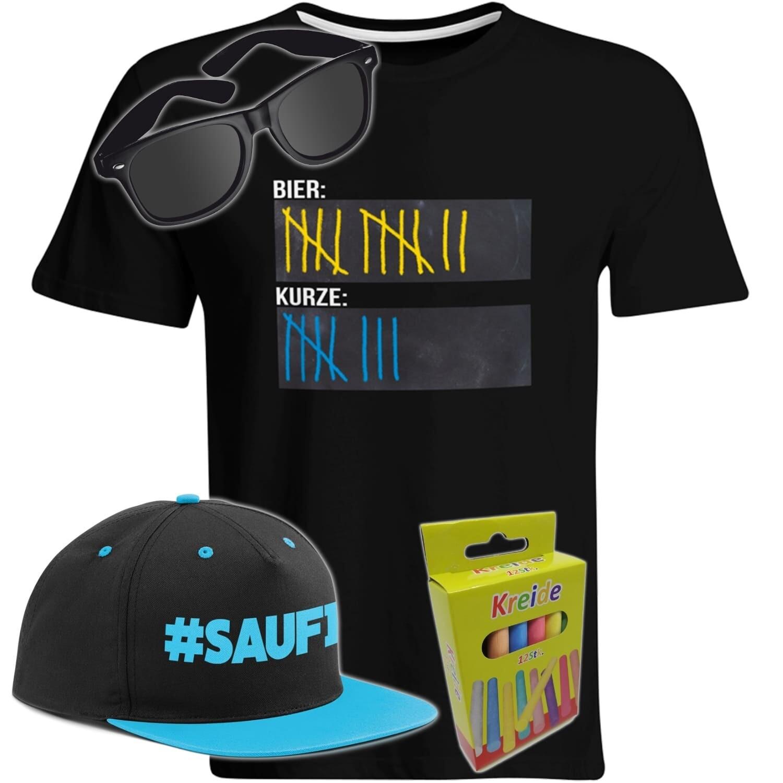 T-Shirt Strichliste Bier & Kurze mit Kreide beschreibbar inkl. Partybrille, #SAUFI Snapback (Blau)  und 12er-Pack Kreide (Herren, Rundhals, Farbe Schwarz)