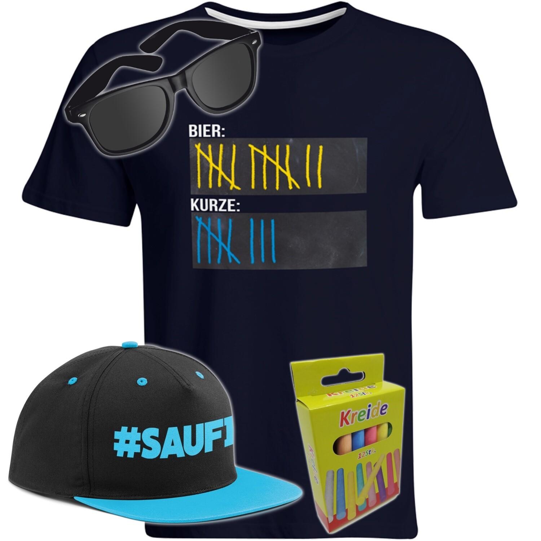 T-Shirt Strichliste Bier & Kurze mit Kreide beschreibbar inkl. Partybrille, #SAUFI Snapback (Blau)  und 12er-Pack Kreide (Herren, Rundhals, Farbe Navy)