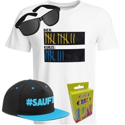 T-Shirt Strichliste Bier & Kurze mit Kreide beschreibbar inkl. Partybrille, #SAUFI Snapback (Blau)  und 12er-Pack Kreide (Herren, Rundhals, Farbe Weiß)