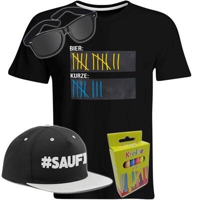T-Shirt Strichliste Bier & Kurze mit Kreide beschreibbar inkl. Partybrille, #SAUFI Snapback (Grau)  und 12er-Pack Kreide (Herren, Rundhals, verschiedene Farben)