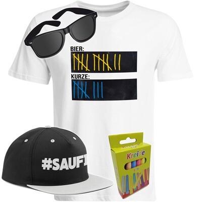 T-Shirt Strichliste Bier & Kurze mit Kreide beschreibbar inkl. Partybrille, #SAUFI Snapback (Grau)  und 12er-Pack Kreide (Herren, Rundhals, Farbe Weiß)