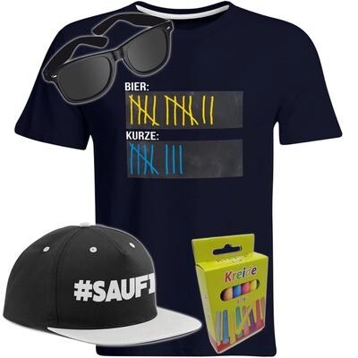 T-Shirt Strichliste Bier & Kurze mit Kreide beschreibbar inkl. Partybrille, #SAUFI Snapback (Grau)  und 12er-Pack Kreide (Herren, Rundhals, Farbe Navy)