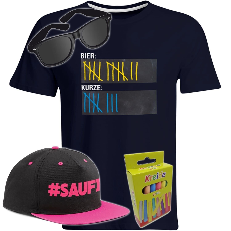 T-Shirt Strichliste Bier & Kurze mit Kreide beschreibbar inkl. Partybrille, #SAUFI Snapback (Pink)  und 12er-Pack Kreide (Herren, Rundhals, Farbe Navy)