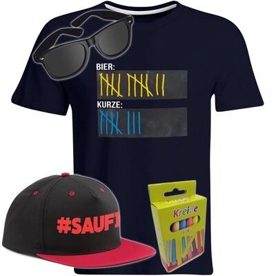 T-Shirt Strichliste Bier & Kurze mit Kreide beschreibbar inkl. Partybrille, #SAUFI Snapback (Rot)  und 12er-Pack Kreide (Herren, Rundhals, Farbe Navy)
