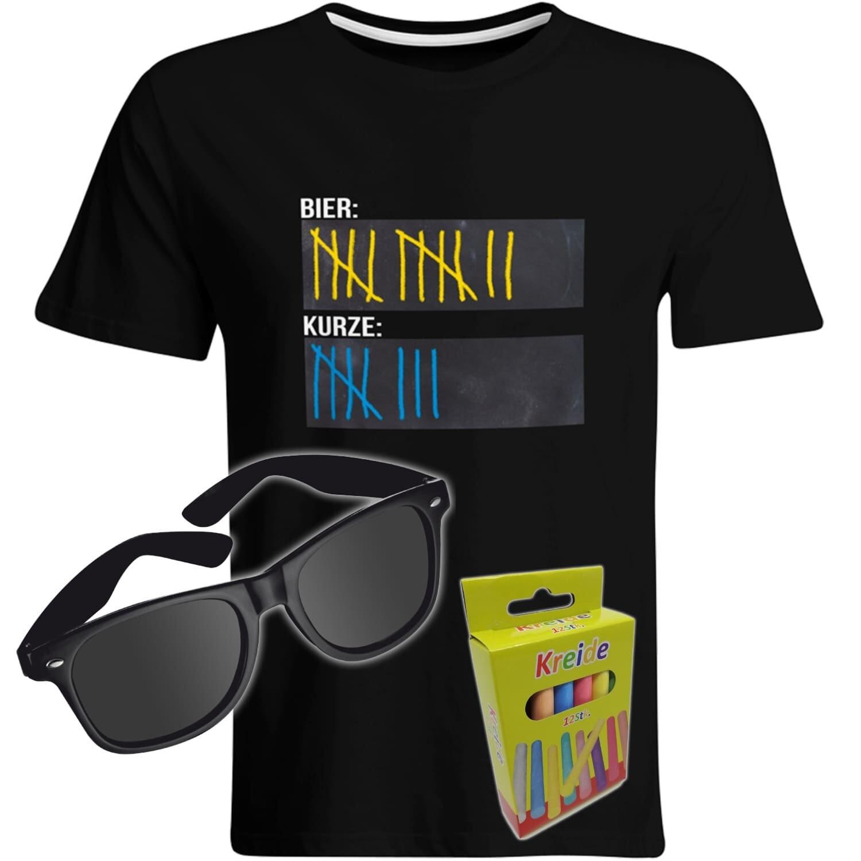T-Shirt Strichliste Bier & Kurze mit Kreide beschreibbar inkl. Partybrille und 12er-Pack Kreide (Herren, Rundhals, Farbe Schwarz)