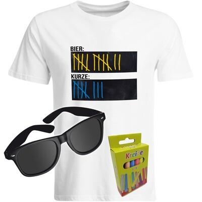 T-Shirt Strichliste Bier & Kurze mit Kreide beschreibbar inkl. Partybrille und 12er-Pack Kreide (Herren, Rundhals, Farbe Weiß)
