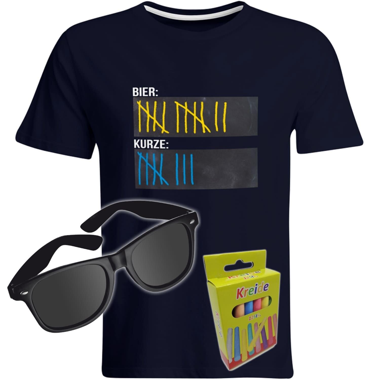 T-Shirt Strichliste Bier & Kurze mit Kreide beschreibbar inkl. Partybrille und 12er-Pack Kreide (Herren, Rundhals, Farbe Navy)