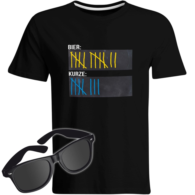 T-Shirt Strichliste Bier & Kurze mit Kreide beschreibbar inkl. Partybrille (Herren, Rundhals, Farbe Schwarz)